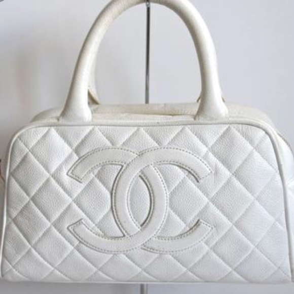 3d4398c1dfbd82 CHANEL Bags | Mini White Quilted Caviar Cc Tote Bag | Poshmark